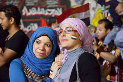 Egyptian Girl Sharing revolution Stock Photo