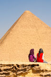 Egyptian Girls Friends Moment Pyramids Stock Photos