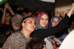 Egyptian girls sharing the Egyptian revolution Royalty Free Stock Image