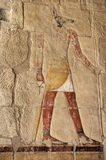 Egyptian god Anubis. Anubis fresco painting in the Temple of Queen Hatshepsut, Luxor, Egypt stock photos