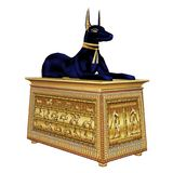 Egyptian God Anubis on a Casket Stock Image