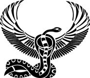 Egyptian god of Death. Snake with wings Stock Photos