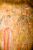 Egyptian God Horus with Queen Cleopatra Stock Photo