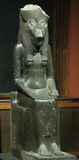 Egyptian Goddess  Sakhmet. Seated statue of the goddess Sakhmet presumably from the Mut-Temple at Karnak. Dated from the new kingdom 18 th Dynasty reign of Royalty Free Stock Images