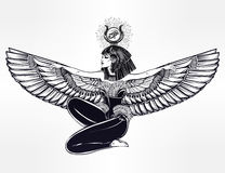 Egyptian godess Isis with outstratched wings. Royalty Free Stock Images