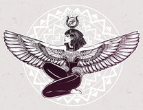Egyptian godess Isis with outstratched wings. Royalty Free Stock Photo