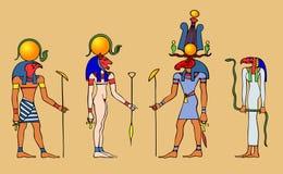 Egyptian gods and goddess stock illustration