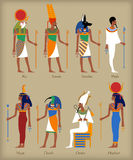 Egyptian gods icons. In flat style for eny design Stock Photos