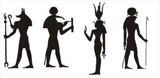 Egyptian gods silhouette Royalty Free Stock Photography