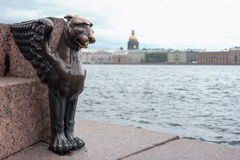 Egyptian griffin statue at the embankment stock photography