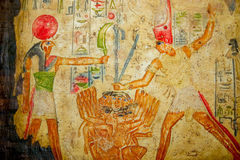 Egyptian hand painting on papyrus Royalty Free Stock Photos