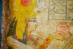 Egyptian hand painting on papyrus Stock Images