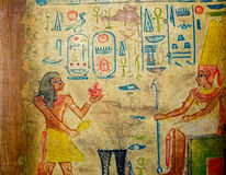 Egyptian hand painting on papyrus Stock Photos