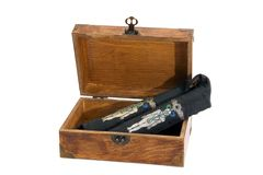 Egyptian healing wands in a wooden box Royalty Free Stock Image