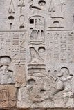 Egyptian hieroglyph on obelisk. Egyptian hieroglyph. The Flaminio Obelisk is an ancient Egyptian obelisk in Rome, Italy. It is located in the Piazza del Popolo Stock Photography