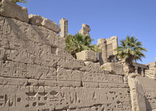 Egyptian hieroglyphic carvings on a wall Royalty Free Stock Photo