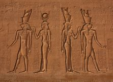 Egyptian Hieroglyphics. At Edfou Temple Royalty Free Stock Photo