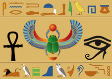 Egyptian hieroglyphics. Set of egyptian icons and hieroglyphics Stock Photography