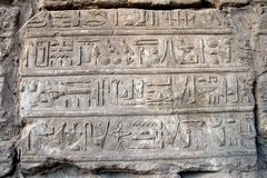 Egyptian Hieroglyphics. Hieroglyphics at temple of Karnak Stock Photography