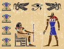 Egyptian hieroglyphics - 13. Ancient fresco from Egypt Stock Image