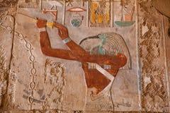 Egyptian Hieroglyphics. Architectural detail Egyptian Ruins near Cairo Stock Photo