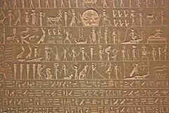 Egyptian hieroglyphics on display in a museum Royalty Free Stock Photo