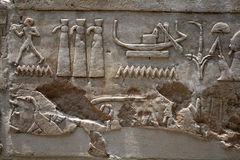Egyptian  hieroglyphics on stone relief Royalty Free Stock Images