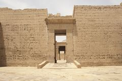 Egyptian hieroglyphics on a temple wall Royalty Free Stock Photos