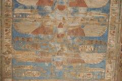 Egyptian hieroglyphics on a temple wall Stock Photo