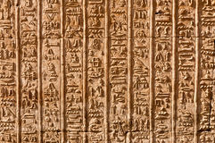 Egyptian Hieroglyphs. Close-up of vertical column pattern of Egyptian hieroglyphs Royalty Free Stock Photos