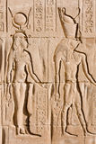 Egyptian hieroglyphs. Depicting a man and a woman royalty free stock photography