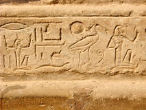 Egyptian hieroglyphs. Pattern from Karnak Temple. Antique Thebes. Luxor, Egypt royalty free stock photos