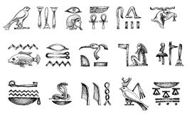 Egyptian hieroglyphs. Ancient Egyptian hieroglyphs doodle set Stock Photography
