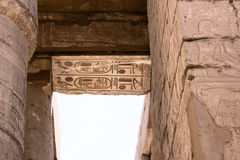 Egyptian hieroglyphs on the ceiling of the temple of Karnak Stock Images