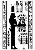 Egyptian hieroglyphs and fresco stock photo