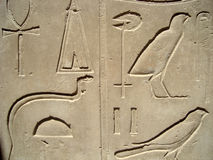 Egyptian Hieroglyphs In Luxor Royalty Free Stock Images