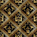 Egyptian hieroglyphs vector seamless pattern. African ethnic bl. Ack background wallpaper with gold 3d greek key rhombus and antique egyptian ornaments. Ancient Vector Illustration