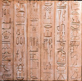 Egyptian hieroglyphs on the wall.  stock images