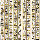 Egyptian hieroglyphs yellow-black color seamless Stock Photos