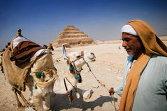 Egyptian and his camel. An egyptian with his camel is expecting tourist near the pyramid of Mit-Rahina. This can be his primary earning Royalty Free Stock Photo