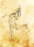 Egyptian Horus hold sand, drawing on paper. transience and time concept. Royalty Free Stock Photo