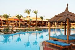 Egyptian Hotel resort background Stock Photos