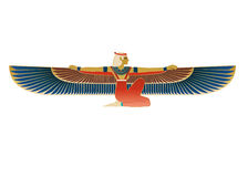Egyptian Icon Winged Figure Royalty Free Stock Image