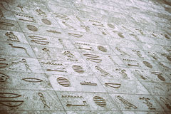 Egyptian Inscription. Wall Bas-relief Hieroglyphic Egyptian Inscription Royalty Free Stock Images