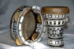 Egyptian instruments. Drum and tamburine close Stock Image