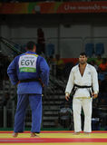 Egyptian Judoka Islam El Shehaby L refuses to shake hands with Israeli Ori Sasson after losing men +100 kg match of the Rio 2016 Royalty Free Stock Photography