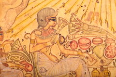 Egyptian King painting on papyrus Royalty Free Stock Photography