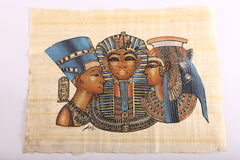 Egyptian Kings painting on papyrus. Ancient Egyptian hand painting on papyrus Stock Photography