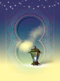 Egyptian Lantern. (Fanoos Ramadan) with arabesque drawings in the background Royalty Free Stock Images