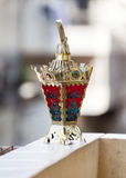 Egyptian lantern. On balcony wall - fanous Ramadan Royalty Free Stock Images